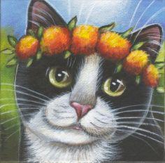 Tuxedo cat paintings | Tuxedo Cat Mini Summer Painting | cats