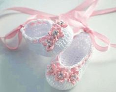 Items similar to Baby Ballerina Slippers, Crochet Baby Booties on Etsy Crochet Baby Sandals, Crochet Shoes, Crochet Baby Booties, Crochet Slippers, Baby Blanket Crochet, Baby Ballerina, Ballerina Slippers, Baby Slippers, Ballet Shoes