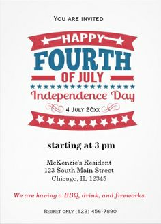 Clean and classic happy #4th_of_July party #invitations.