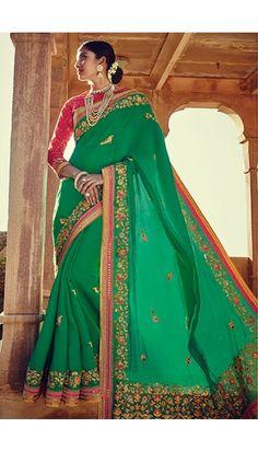 Green Taffy Silk Saree With Blouse - DMV11203