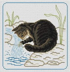 Free Cross Stitch Patterns - This reminds me of Heartburn :-) Cat Cross Stitches, Counted Cross Stitch Patterns, Cross Stitch Designs, Cross Stitching, Cross Stitch Embroidery, Embroidery Patterns, Cross Stitch Boards, Just Cross Stitch, Cross Stitch Animals