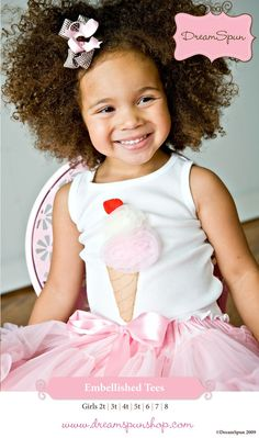 any little girl would look so cute in this adorable ice cream applique top!
