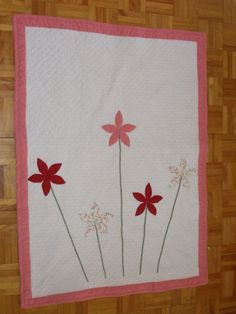 Baby girl Flower applique quilt by ConfectionsMeliBee on Etsy, $200.00
