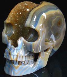 "Huge 4.9"" GEODE Agate Carved Crystal Skull, Crystal Healing"