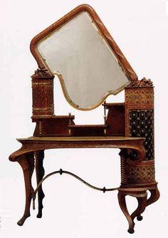 Antonio Gaudi (1852-1926) - Dressing Table. Carved Wood, Iron Hardware and Glass. Designed for the Palau Güell. Circa 1886-1889.