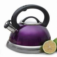 NEW Whistling TeaKettle Purple Color Theme Kitchen Stainless Steel Tea Kettle