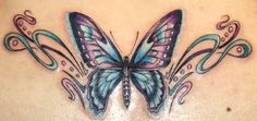 beautiful butterfly tattoos for women | would do Butterfly with cancer awareness ribbon on middle for body in dark blue