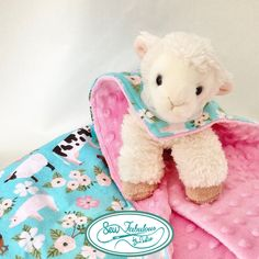 """Cuddly stuffed lamb with her very own minky-flannel """"cape""""
