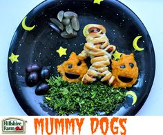 Really cute idea- with hotdogs and crescent roll dough. Hillshire Farm - Ball Park® Beef Mummy Dogs Recipe
