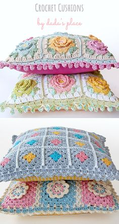 Dada's place is the place to visit if you love crochet cushions! Dada's place is the place to visit if you love crochet cushions! There you will find colorful, ro Cushion Cover Pattern, Crochet Cushion Cover, Crochet Pillow Pattern, Crochet Cushions, Granny Square Crochet Pattern, Afghan Crochet Patterns, Pillow Patterns, Crochet Blocks, Cushion Pillow