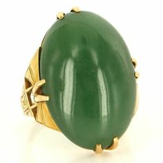 Vintage 18 Karat Yellow Gold Jade Cocktail Ring Fine Estate Jewelry Pre-Owned $1995