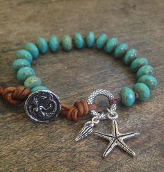 Mermaid Starfish Knotted Leather Wrap Bracelet, Beach Chic $32.00