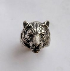tiger head sterling silver ring by yurikhromchenko on Etsy