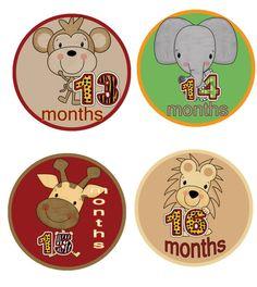 Baby Month Stickers Baby Boy Month Stickers Jungle Giraffe Hippo Elephant Zebra Lion Monkey 13-24 months WATERPROOF Baby Shower on Etsy, $9.00