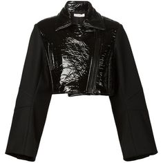 Vera Wang vinyl biker jacket (€1.500) ❤ liked on Polyvore featuring outerwear, jackets, black, black cropped jacket, long moto jacket, vera wang, black jacket and zip front jacket