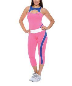 Love this Pink & Blue Cutout Tank & Capri Leggings on #zulily! #zulilyfinds