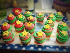 Mario star cupcakes colored red and green for Mario and Luigi