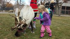 London Blaser blows a kiss to Nanook the reindeer during the Willow Park Zoo's annual Reindeer Trek. (Photo by Kelly Cannon) @willowparkz
