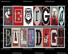 University of Georgia Bulldogs Framed Alphabet Photo Art