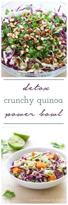 Detox Crunchy Quinoa Power Bowl with Almond Ginger Dressing (plant-based & gluten-free) Clean Eating Recipes, Cooking Recipes, Baker Recipes, Vegetarian Recipes, Healthy Recipes, Vegetarian Salad, Lunch Recipes, Salad Recipes, Healthy Snacks