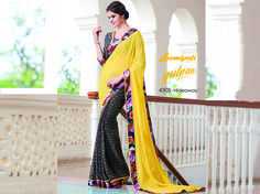 Mesmerize everyone with your wonderful conventional look by draping this Yellow & Grey Chiffon Saree with Satin Silk Grey Black Blouse along with Printed Satin Lace Border. 100% genuine products guaranteed. Limited Stock! #Catalogue #GULNAR Price - Rs. 1677.00 #GaneshChaturthi #GaneshChaturthi2016 #Ganesh #Monsoon #Shopping #Shoppingday #ShoppingOnline #Fashionstyle #ReadyToWear #OccasionWear #Ethnicwear #FestivalSarees #Fashion#Fashionista #Couture #LaxmipatiSaree #Autumn