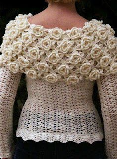 What a beautiful jumper. ( On my 'crochet chart' board there are instructions on how to do similar flowers for this jumpers collar ).