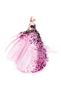 Couture-inspired gown. Illustration by Katie Rodgers of Paper Fashion.