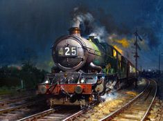 The late Terence Cuneo FGRA. A Britsh artist/oil painter who has received worldwide acclaimation for his portraits and steam locomotive paintings. Gouache, Train Drawing, Old Steam Train, Cool Monsters, Old Trains, Vintage Trains, Train Art, Railway Posters, Train Pictures