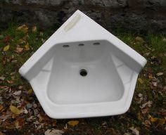 "I think corner sinks are just plain genius.   VBS111411-03 1955 ""STANDARD"" corner wall mount sink 17"" across each backsplash and 19"" from back corner to front of bowl. In good condition $175.00 Corner Sink, Corner Wall, Wall Mounted Sink, Love Chair, Vintage Walls, Sinks, Backsplash, Fancy, Bathroom"