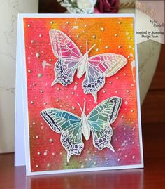 Inspired by Stamping, Kylie Purtell, Butterflies, Saturated Watercolour Background, Perfect Pearls