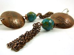 Turquoise Blue Drop Earrings Etched Copper Earrings Chain Dangles Faceted Czech Glass Beads Domed Metal Disc on Etsy, $30.00