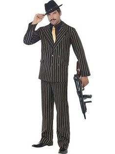 Men Costumes: Adult Mens Gold Pinstripe Gangster Costume 1920 S Razzle Fancy Dress - 2 Sizes -> BUY IT NOW ONLY: $32.99 on eBay!