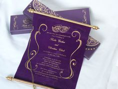 This stylish medium scroll in the box is perfect style invitation for your Mardi gras or Masquerade ball themed wedding, birthday, graduation, bar mitzvah & Quinceañera ceremonies.