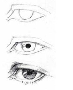 Draw the eyes almond-shaped, and made of several sections. Eyes are recessed into the head and have eyelids, eyelashes, the black pupil and the colored iris. Practice drawing the eye and each part of it. Read more: http://www.ehow.com/how_4896014_draw-faces-beginners.html#ixzz2qBoAEMWF