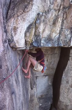 "Henry Barber's answer to climbing the Gunks classic ""Matinee"" (5.10) in the clunky shoes of the day.  He was just back from his trip to Dresden (SuperTopo)"