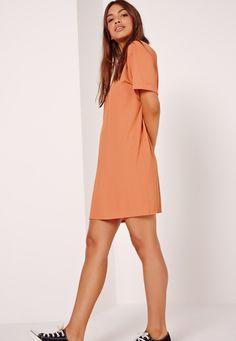 Oversized T-Shirt Dress Orange - Missguided