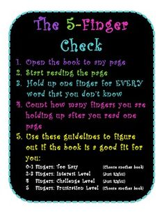 Classroom Library Idea....... 5 Finger Check for Just Right Books Poster- Black & Bright/ Learning in the LImelight