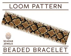 Beaded bracelet pattern featuring animal print: Snakeskin, wonderfully resembling snake scales.  Pattern has been designed for loom beadweaving, however it can also be used for square stitch. Recommended are Miyuki Delica cylindrical beads size 11 due to their quality, and they have been carefully selected from the full collection considering both their shade and finish, to achieve the desired effect.  Whether you like to start your bracelet from the first row or from the centre, row…