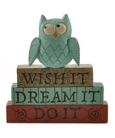 Look at this #zulilyfind! 'Wish It, Dream It, Do It' Owl Stacked Block #zulilyfinds