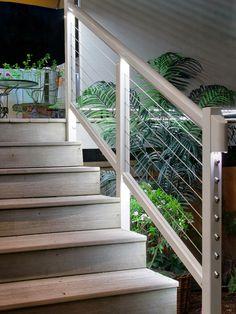 Feeney LED Lighting for DesignRail®: Feeney's custom designed LED lights and Lens installed in stair railing. Outdoor Stair Railing, Interior Stair Railing, Wrought Iron Stair Railing, Staircase Handrail, Stone Stairs, Concrete Stairs, Outside Stairs, Exterior Shades, Outdoor Lighting Landscape