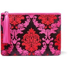 Mary Katrantzou Silk-blend jacquard and leather clutch ($250) ❤ liked on Polyvore featuring bags, handbags, clutches, pink, real leather handbags, mary katrantzou, pink leather handbag, leather handbags and pink purse