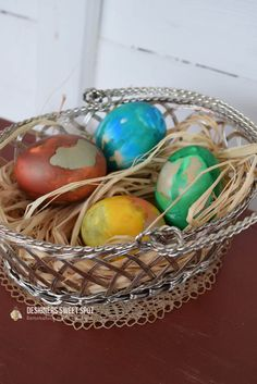 Agate eggs in silver Easter basket @designerssweetspot.com