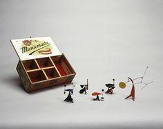 "Alexander Calder  LOUISA'S 43RD BIRTHDAY PRESENT, 1948    Sheet metal, wood, wire, felt, cigar box, and paint  Box: 2 1/2"" x 8 11/16"" x 5 1/16""    Sheet metal, wood, wire, felt, cigar box, and paint  Box: 2 1/2"" x 8 11/16"" x 5 1/16"""