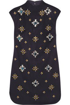 Tory Burch Carlan embellished wool-blend felt mini dress | NET-A-PORTER