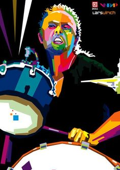 """""""lars ulrich"""" Digital Art by Rachmad Noviandi posters, art prints, canvas prints, greeting cards or gallery prints. Find more Digital Art art prints and posters in the ARTFLAKES shop. Metallica Art, Cool Face, Pop Art Posters, Celebrity Drawings, Thrash Metal, Arte Pop, Music Icon, Great Bands, Rock Art"""