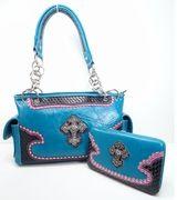 Blue Western Cowgirl Bling Rhinestone Cross Satchel Purse AND Wallet