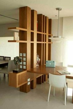 45 Brilliant Partition Wall Design Ideas To Blow You Away - Engineering Discoveries Living Room Divider, Living Room Partition Design, Room Partition Designs, Wood Partition, Room Divider Shelves, Home Interior, Interior Decorating, Interior Design, Divider Design
