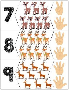 Teach counting skills with Reindeer! Great for teaching counting skills and number recognition for numbers Quick prep and great for math centers! Zoo Activities Preschool, Kids Math Worksheets, Numbers Preschool, Kindergarten Art, Kids Learning Activities, Preschool Activities, Teaching Kids, Puzzles Numeros, Autism Education