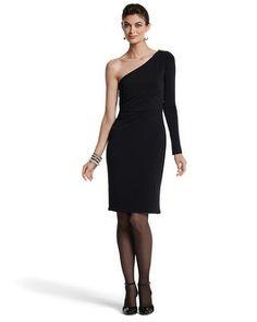 White House | Black Market One-Shoulder Black Knit Jersey Dress #whbm