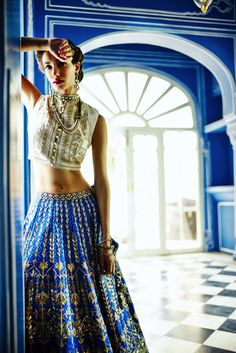 Blue wedding lehenga with gold gota work by Anita Dongre India Fashion, Ethnic Fashion, Asian Fashion, Fall Fashion, Style Fashion, Fashion Outfits, Anita Dongre, Hindu Girl, Bleu Indigo